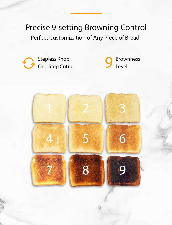 Willsence Toaster Edelstahl mit LCD-Display Countdown Anzeige Toaster 4 Scheiben Extra Breite Steckpl/ätze 9 Br/äunungsstufen und 6 Voreingestellten Programmen