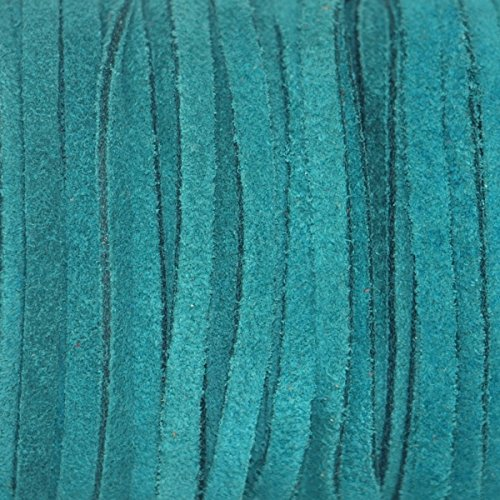 Turquoise Genuine Flat Suede Leather Cord Lace, 3mm width 25 Yard Spool