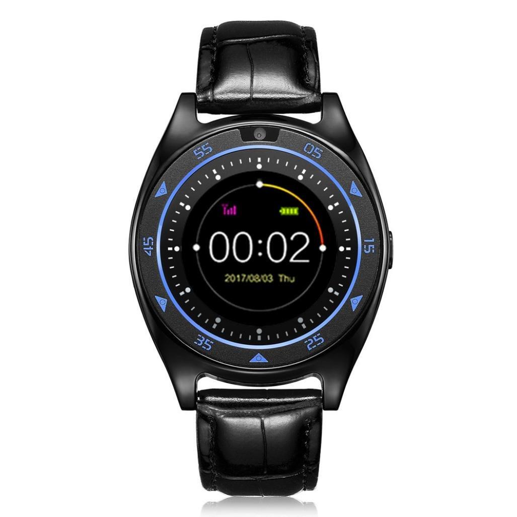 aritone Smart Watch、ハートレート血圧モニタスロット手首防水Bluetooth Smart Watch with Heart Rate Monitorメンズ、レディース、and Kids B07CBYZFCJ ブラック