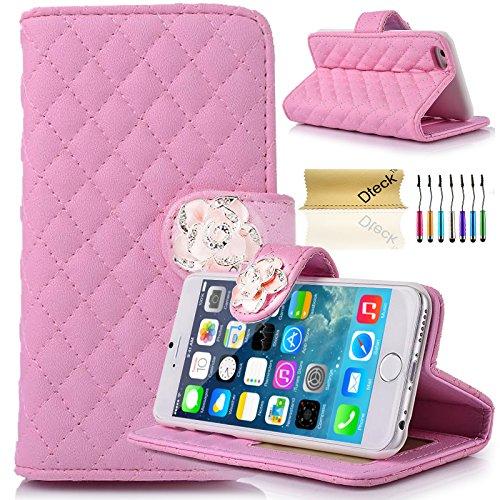 iPhone 6 Plus 6S Plus Case, Dteck(TM) Luxury Rhombus Lattice Design PU Leather Camellia Fastener Stand Case [Card/Money/Photo Slots] Wallet Cover for Apple iPhone 6 Plus 6S Plus 5.5