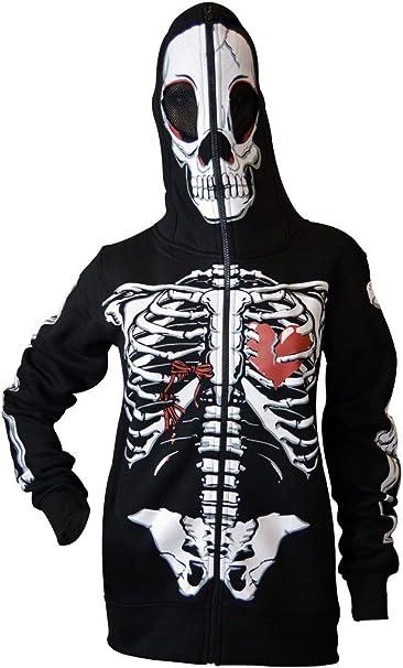 Mujer Completo Cara Máscara Esqueleto Cráneo Capucha Camisa de Entrenamiento Víspera de Todos los Santos Costume Hoodie Sudadera con Capucha