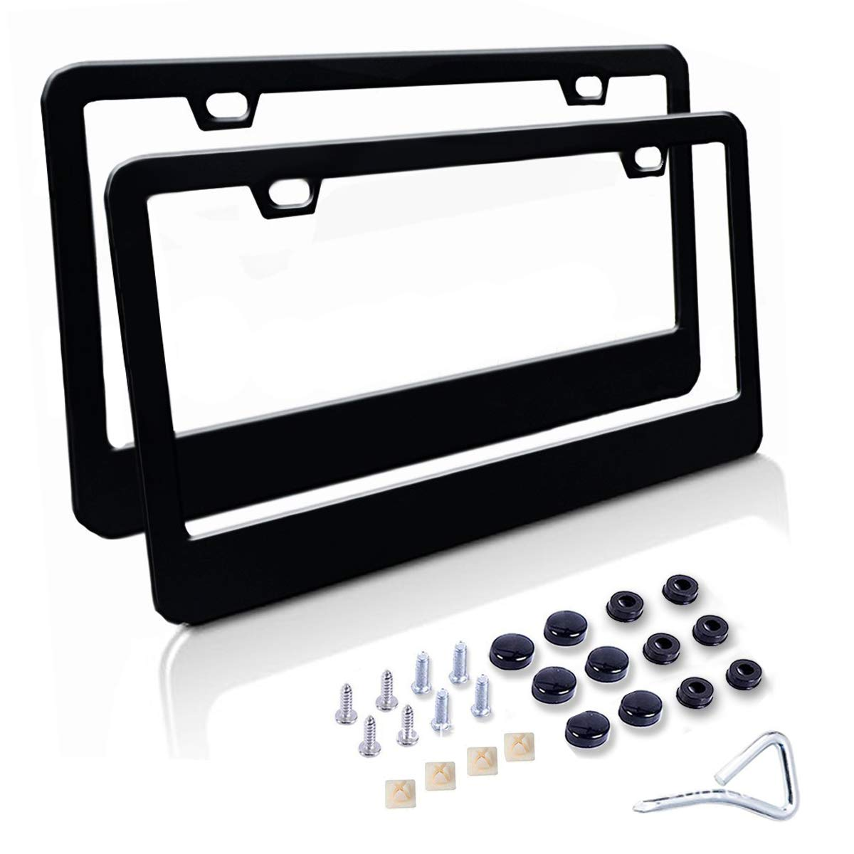 WildAuto License Plate Frame, 2 Pack Stainless Steel Car Licence Plate Covers with Screw Caps(Black) CA-WA-Licenses Frames-Black