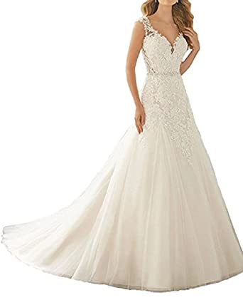 9add19919d31 Women s Long Chiffon Lace A-Line V-Neck Backless Wedding Dress for Bride  Ivory