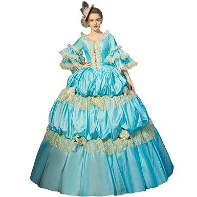 cd2f751ed7b258 Amazon.com  XNAIHUAFEI Royal Dress 18th Century Blue Costume Marie ...
