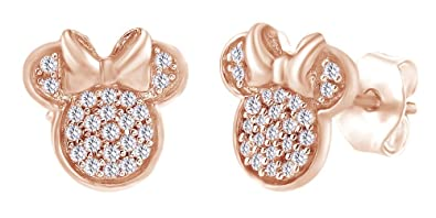 5067d9de0 Sparkling Round Shape White Cubic Zirconia Minnie Mouse Stud Earrings In  14K Rose Gold Over Sterling