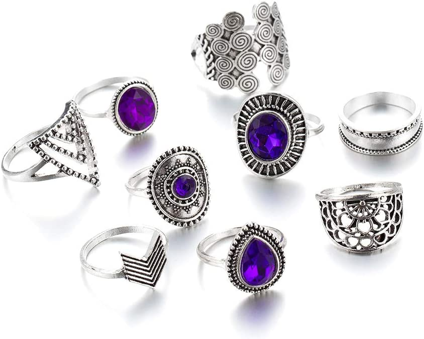 XUNXI Anillos de Novedad, 9 Piezas/Juegos Anillos de Plata Vintage con Diamantes de imitación púrpura para Mujeres Flores Geometría Joyería Bohemia Boda de Mujer