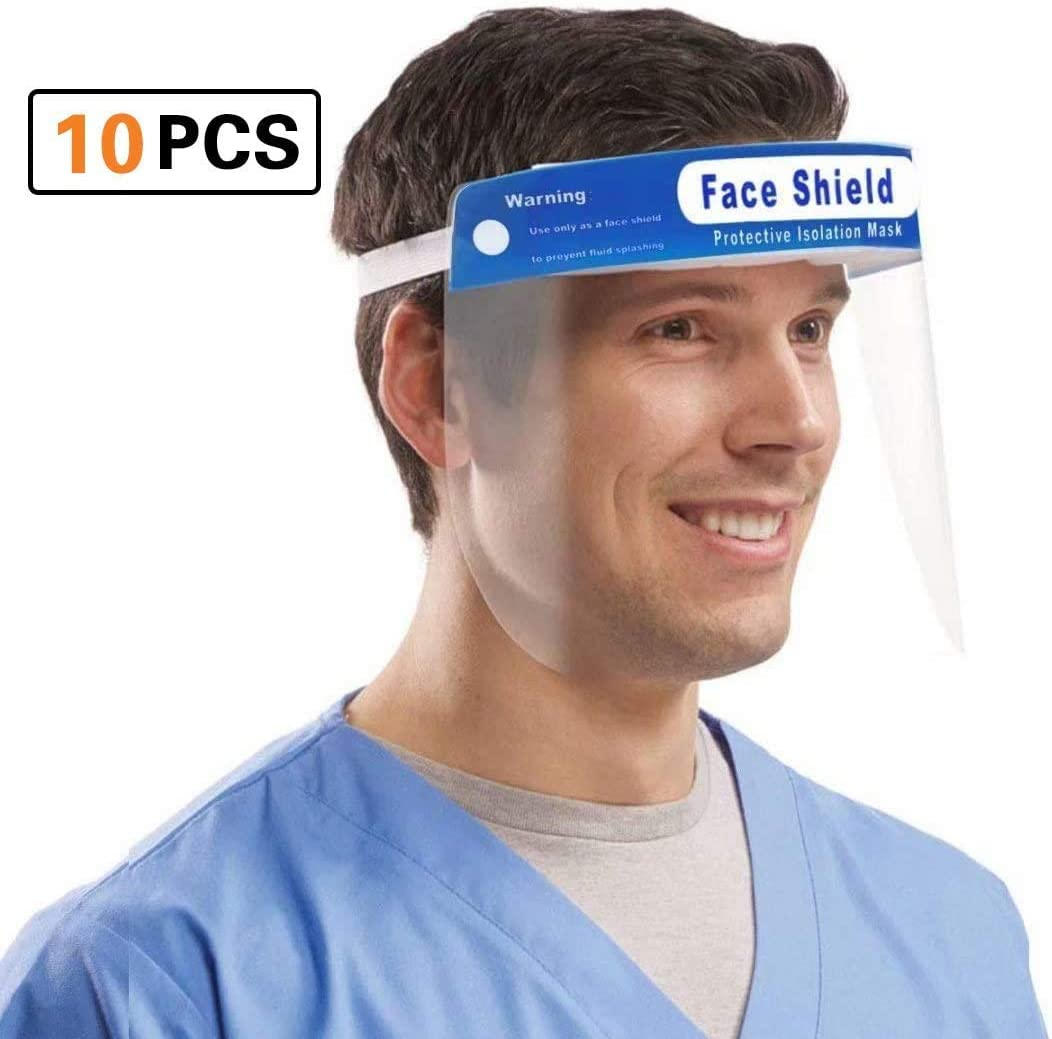 Escudo transparente ligero con banda el/ástica ajustable para hombres Mujeres Coota Face Shield 10 PCS,Visera de protecci/ón facial con visera clara transparente Escupiendo lente antiniebla