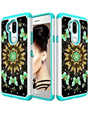 for LG G7/G7 ThinQ Glitter Phone Case,QFFUN Soft Silicone Hard Plastic Back Hybrid Double Layer 2 in 1 Bling Crystal Diamonds Anti-Scratch Protective Cover with Screen Protector - Green Butterfly