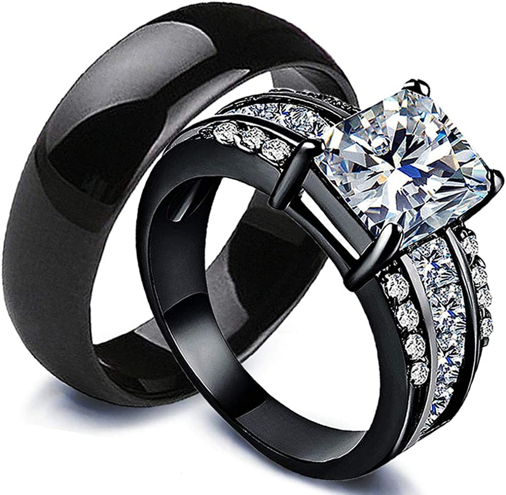 AJZYX Couple Rings Bridal Set His Hers Square Cubic Zirconia CZ Rings for Women & Ceramic Ring for Men Wedding Ring Sets Black Gold Plated Size 6-10