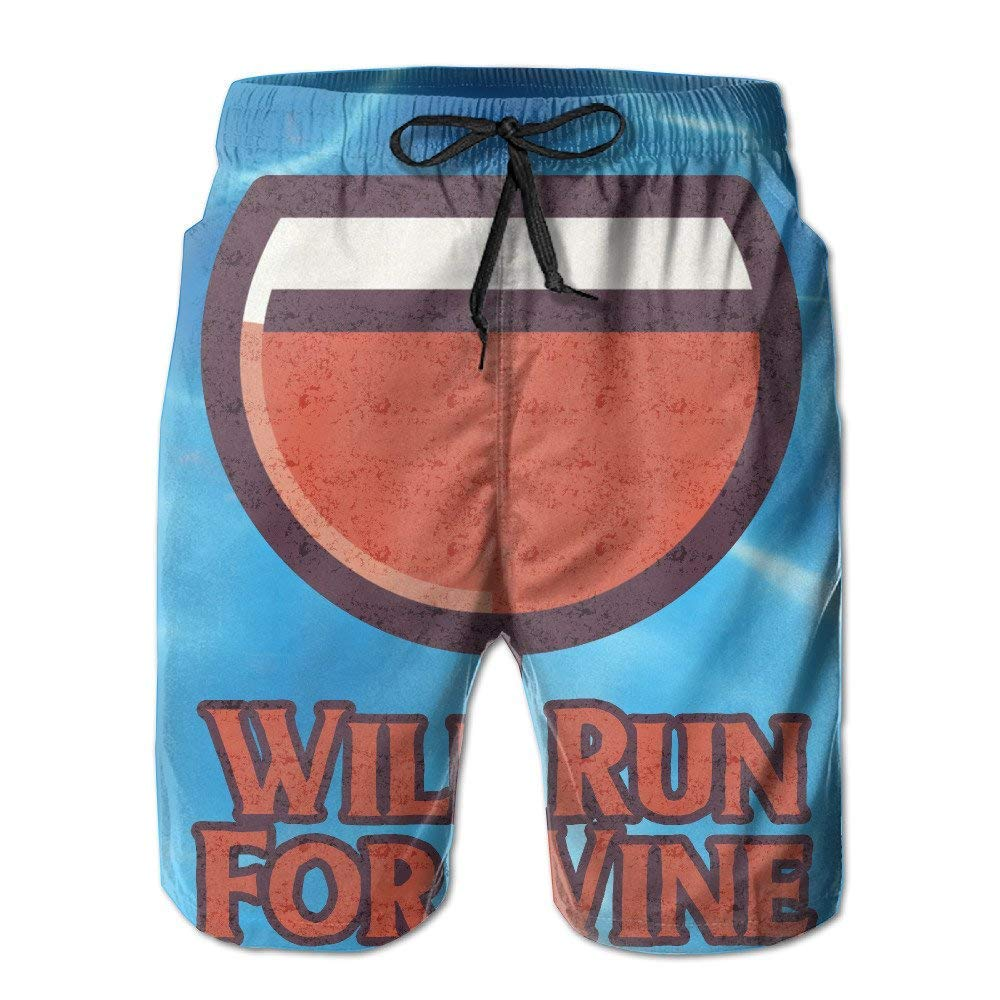 BBggyh Mens Will Run for Wine Board Shorts Swim Trunks
