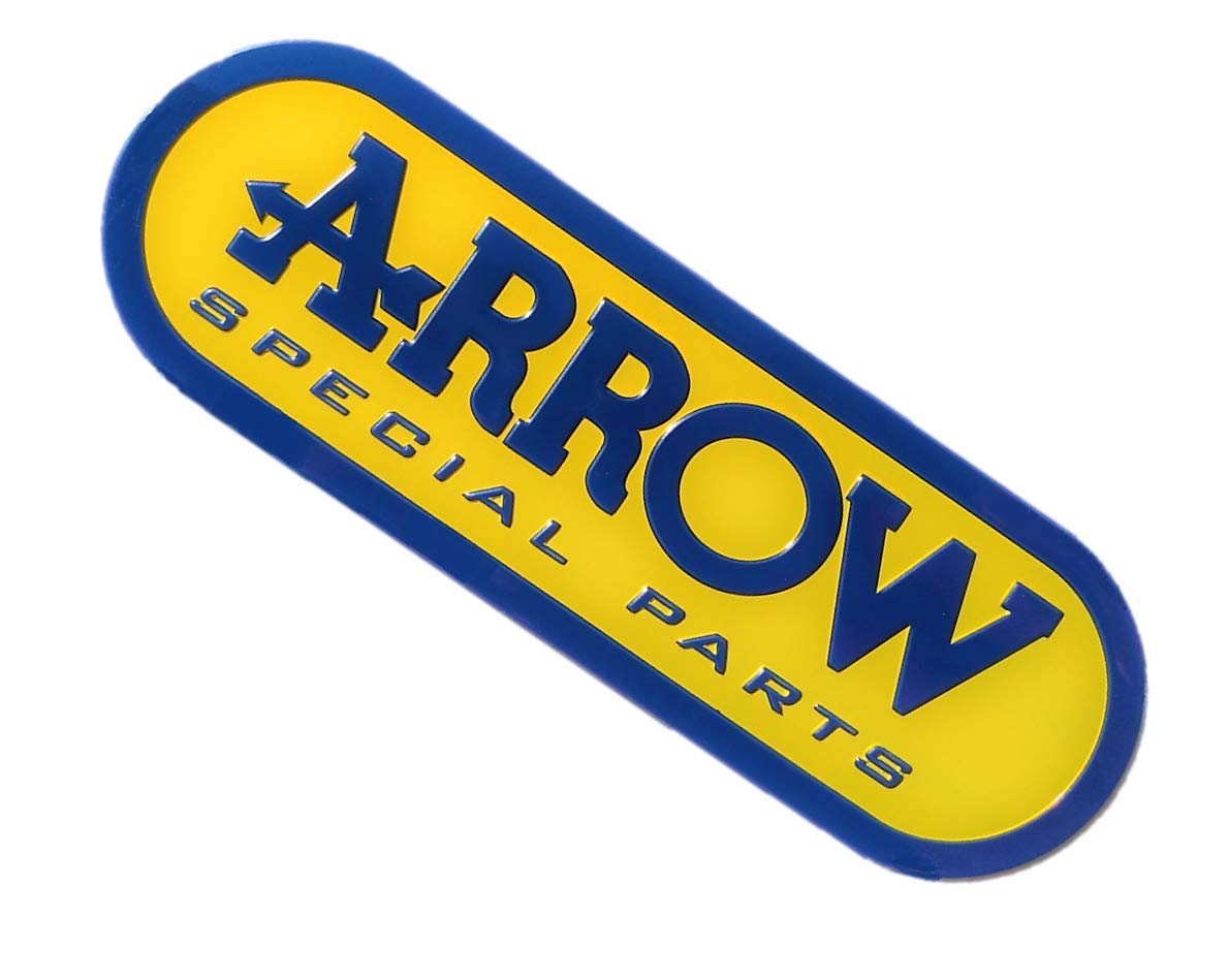 ADESIVO STICKER ARROW ALLUMINIO 3D ALTE TEMPERATURE SCARICO EXHAUST GIALLO GRANDE 13,5cm x 4,3cm