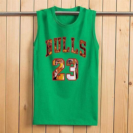 Camiseta de Verano Toros 23# Baloncesto Jersey, Camisa for Hombre Top Entrenamiento Deportivo Chaleco sin Mangas Floja y Transpirable Chaleco Ropa Deportiva (Color : Green, Size : XXXXL): Amazon.es: Hogar
