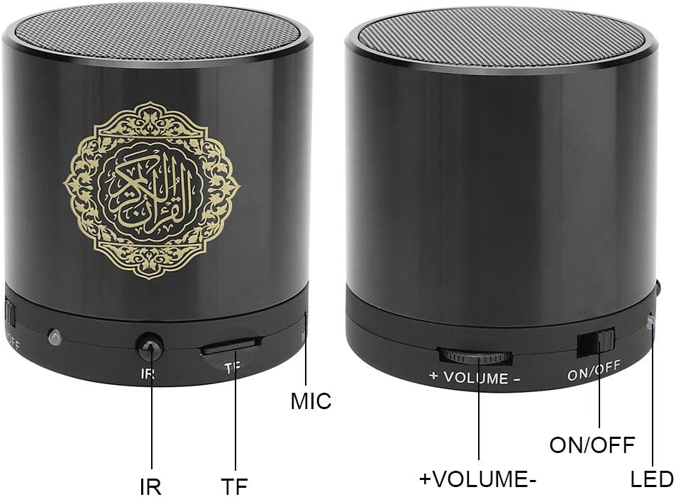 Jarchii Quran Speaker USB Charging Wireless Remote Control Digital Quran Speaker Muslim Player Gift Support Recording Function and TF Card Slot Expansion