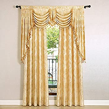 Helen Curtain European Jacquard Royal Luxury Valance Curtains For Living Room Window Swags Tails