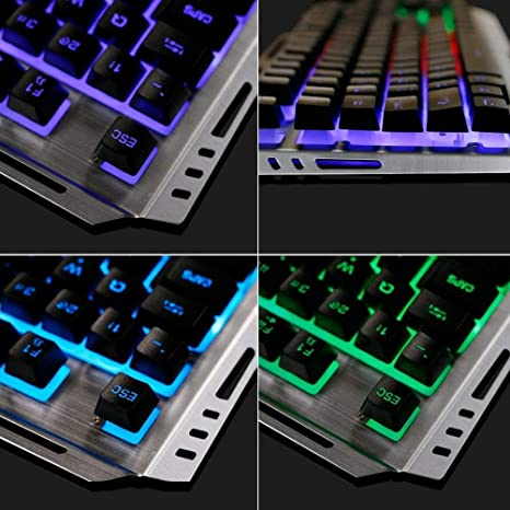 ... with RGB Rainbow LED Backlit,Waterproof,Dust and Dirt-Proof,Ergonomic Design,Mechanical Feeling,for Working and Prime Gaming: Computers & Accessories