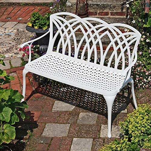 Easy Assembly For All Weather Conditions 2-seater in White Lazy Susan April Metal Garden Bench Garden 12 Month Warranty Weatherproof aluminium Garden Bench Cast aluminium 114x58x94 Rust Proof