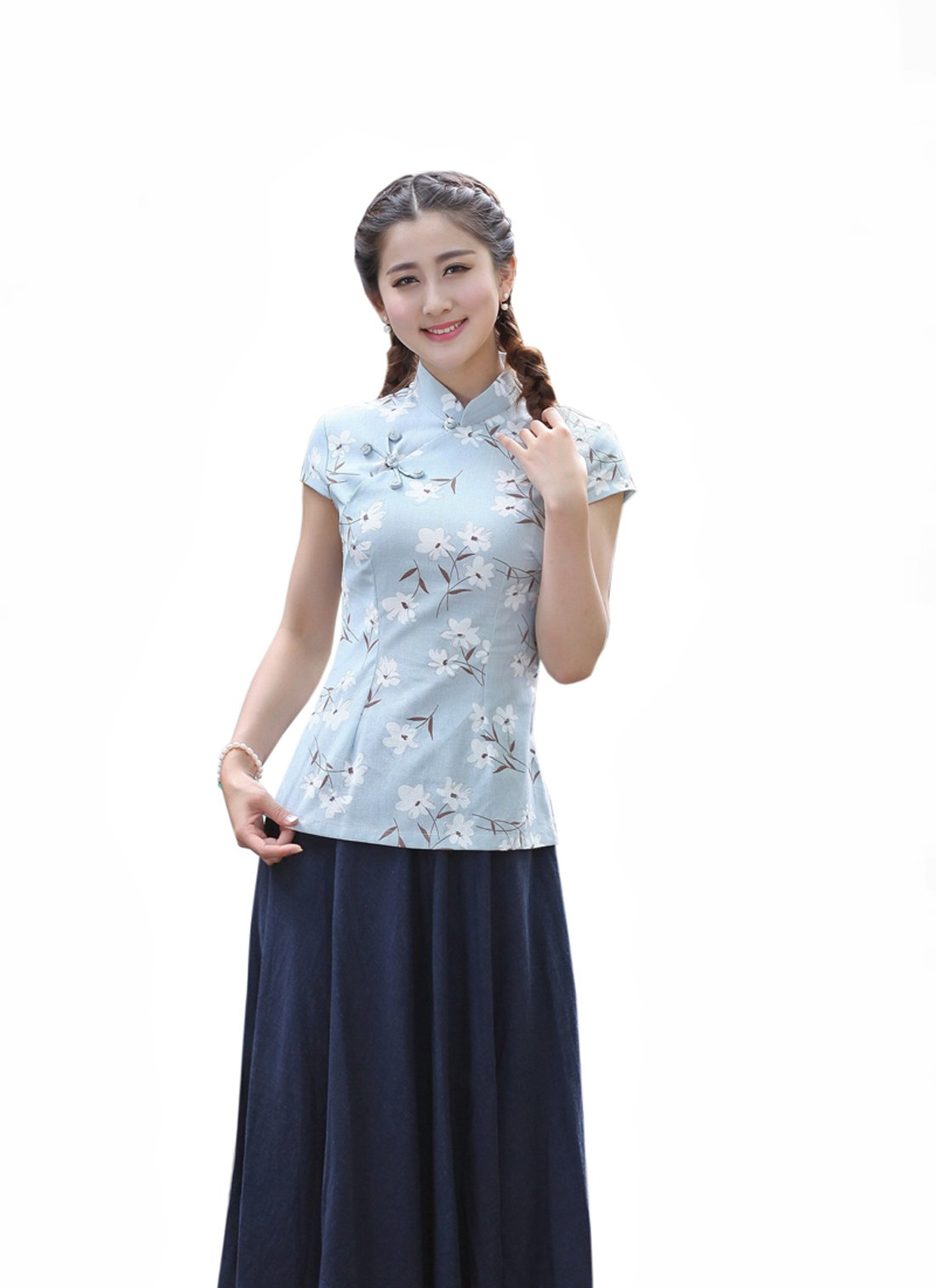 XueXian(TM) Womens Cap Short Sleeve Summer Coat Chinese Ladies Tang Suits with Flowers (China XXL:Bust 39.37'' Waist 33.85'',blue)