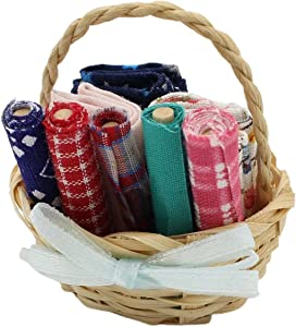 Walbest Mini Fabrics Basket,Kids Dollhouse Miniature Accessories Fabrics Basket Sewing Kit Model A