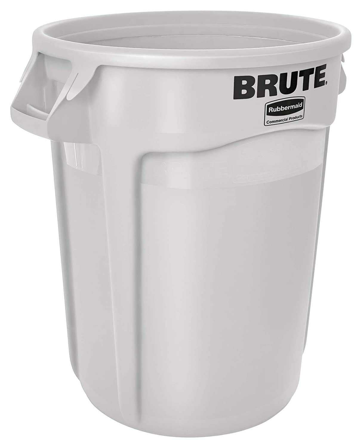 Rubbermaid Commercial Products FG263200WHT BRUTE Heavy-Duty Round Trash/Garbage Can, 32-Gallon, White
