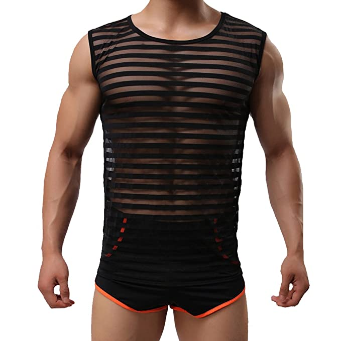 Tenchif Hombres Striped Gym Tank Top Camiseta con Chalecos Transparentes: Amazon.es: Ropa y accesorios