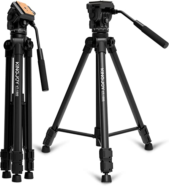 KINGJOY Video Tripod with Fluid Head