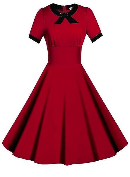 Sparkling YXB - Vestido - Noche - Manga corta - para mujer Rojo rosso large
