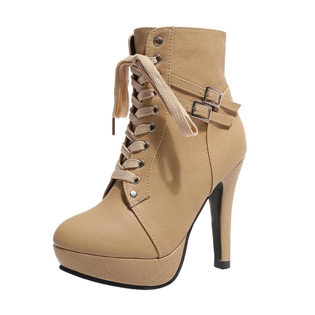 2018 Womens Girls Ankle Bootie 5.5-9.5,Leather Wedges High Heel Lace-up Round Toe Boots (Beige, US:5.5)