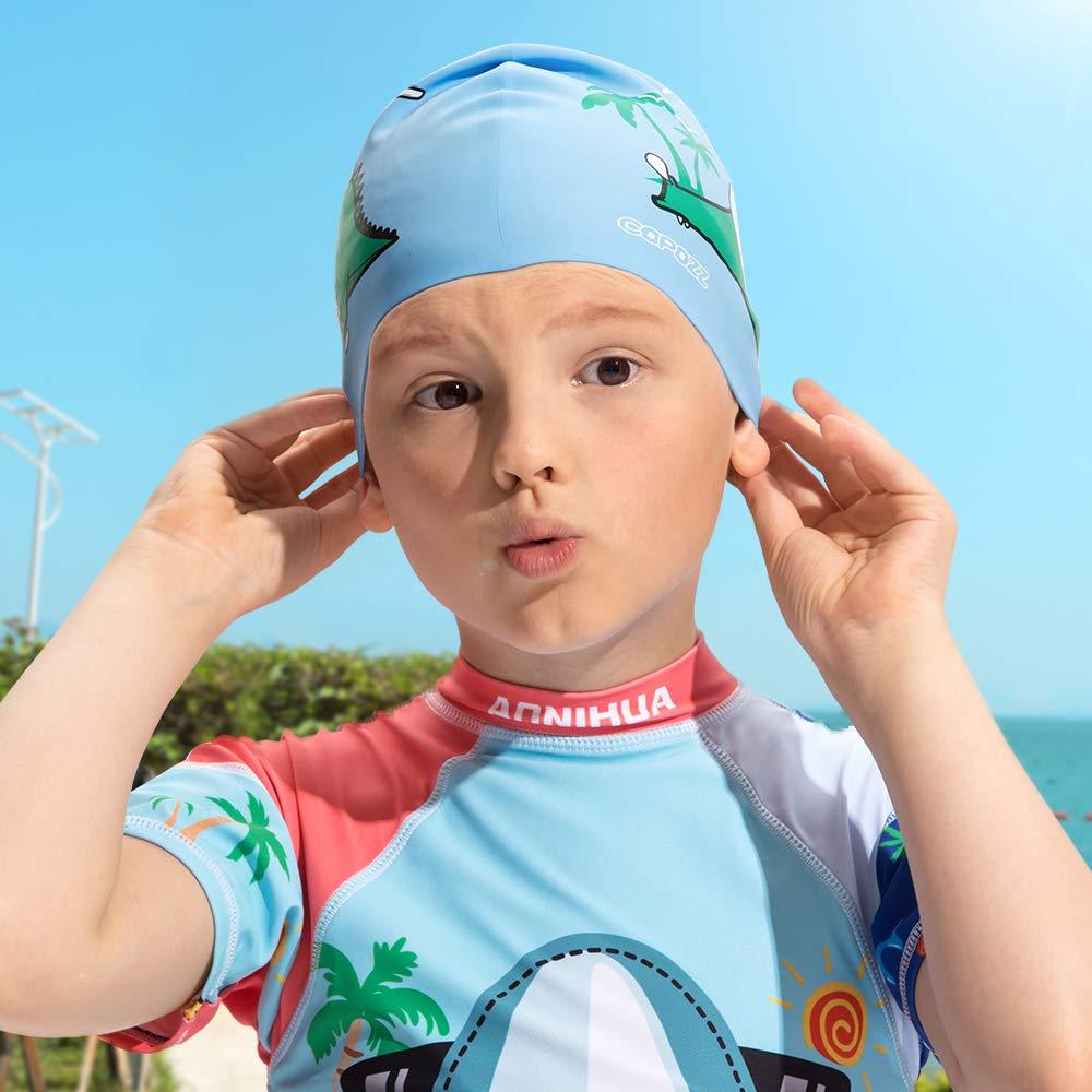 Wasserdicht Schwimmkappe f/ür M/ädchen Jungen Lange Haare Silikon Swimming Cap Badem/ütze f/ür 3 4 5 6 7 8 9 10 11 12 Jahres COPOZZ Kinder Badekappe