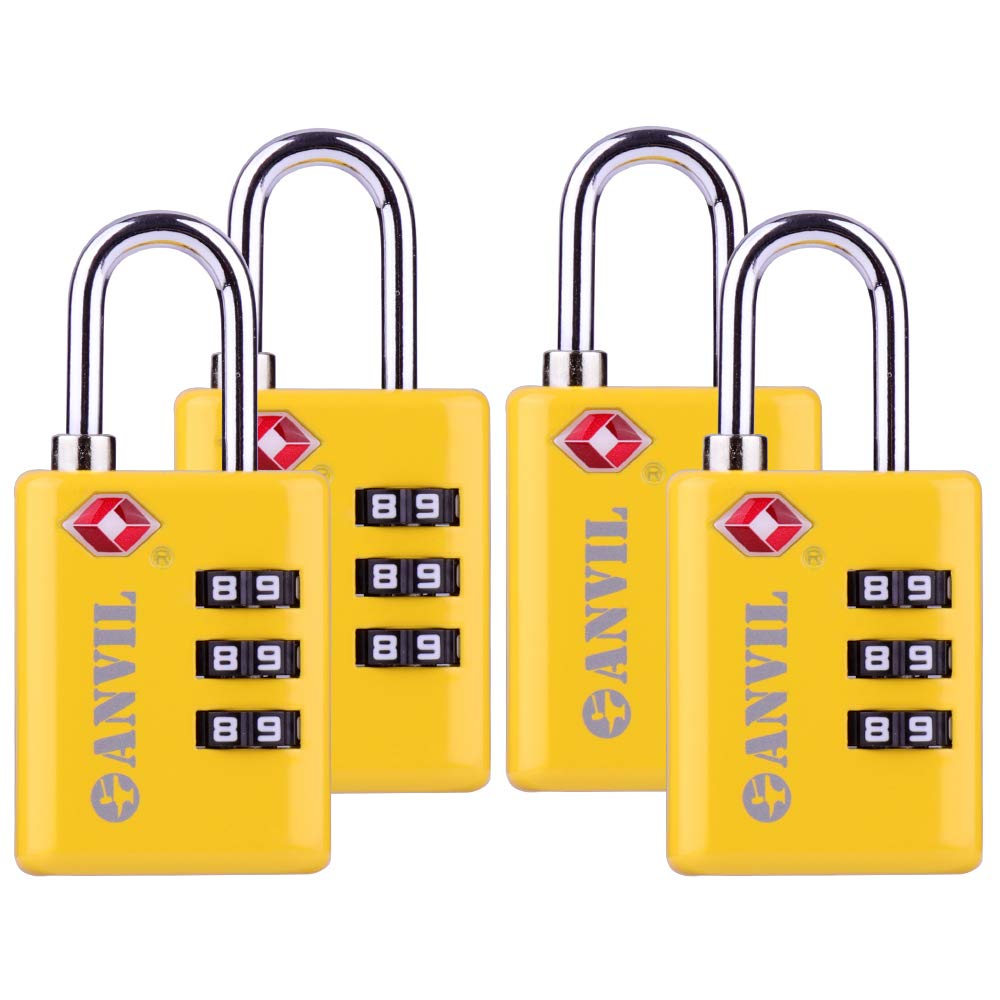 TSA Approved Luggage Locks, Durable Travel Lock with Inspection Indicator and 3 Digit Re-Settable Combination (C117YELLOW4)