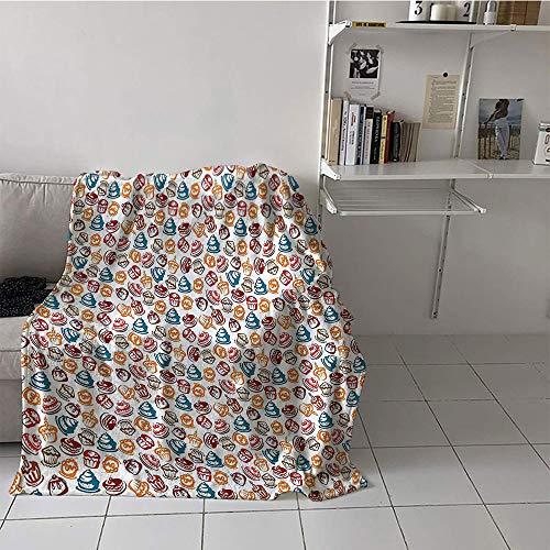 - Khaki home Children's Blanket Beach All Season Blanket (50 by 70 Inch,Culinary,Cupcakes Cakes Creams Cherries Candles Artwork Image Print,Petrol Blue Ginger Ruby White