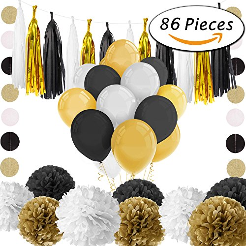 Paxcoo 86 Pcs Black and Gold Party Decorations with Balloons Tassel Garland and Paper Pom Poms for 20st, 30th, 40th, 50th, 60th, 70th,75th, 80th Birthday - Roaring 20 Party Decorations