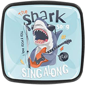 Cabinet Knobs Square Door Handles Cartoon Shark Playing The Guitar Crystal Drawer Pulls for Kitchen Cupboard, Bedroom Dresser, Bathroom Wardrobe Hardware 4 Pack