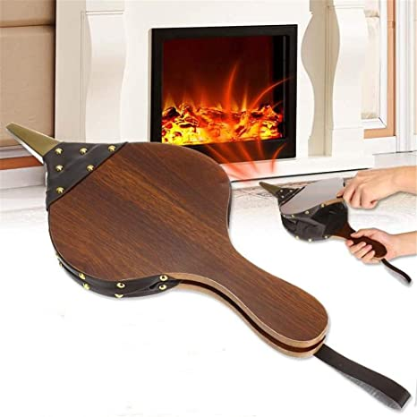 Brown Wood Fireplace Bellows Manual Air Fireside Blower BBQ Camping Hanging Strap Fire Lighter Charcoal Grills Outdoor Campfire Hand Pump for Home