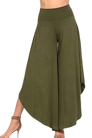 Falda Pantalon Mujer Elegantes Pantalones Verano Cintura Alta Color Sólido Culotte Pantalones Palazzo Pantalon Anchos Anchos Moda Basic Ropa Cómodo ...