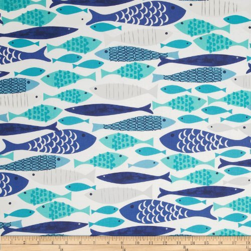 - Michael Miller Lagoon Mod Fish Blue Fabric By The Yard