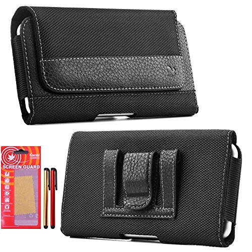 Galaxy S7, Case, Belt Case, Premium Black Nylon Holster Carrying Pouch with Clip and Loops Belt Cover Magnetic Closure Kaede [Screen Guard] Protector and Two Stylus Pen for Samsung [Galaxy S7] (Phone Faceplate Clip Case Cover)