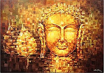 PPD Lord Buddha Canvas Paintings | The Golden Buddha   Buddhism   Tibetan  Art | Large