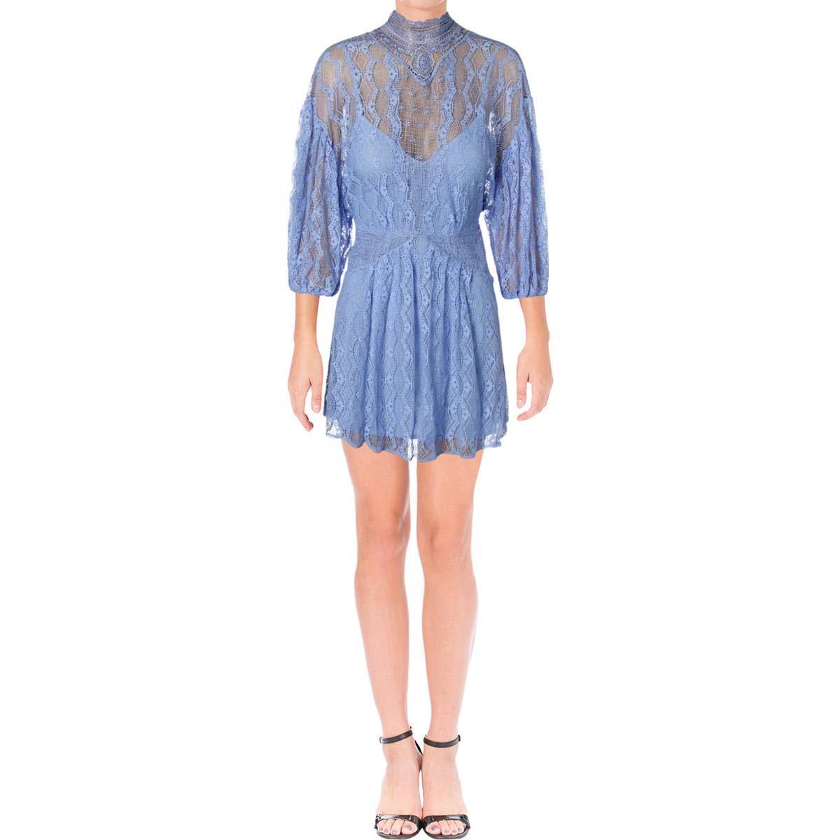 Boardwalk bluee Free People Womens Lace Overlay Mock Neck Mini Dress