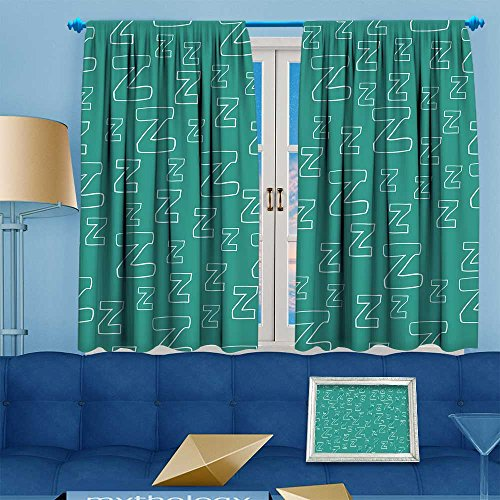 aolankaili Linen Curtains with cartoon zzz can be used for wallpaper wrapp paper fabric for pajamas Print Window Curtain Drapes Set for Living Room 108