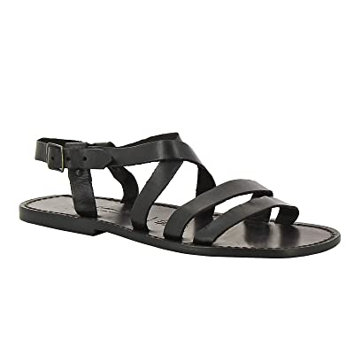 Handmade in Italy Men's Black Leather Franciscan Sandals | Sandals