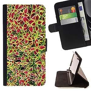 For Sony Xperia Z3 Plus / Z3+ / Sony E6553 (Not Z3) Case , Flores Plantas Rojo Verde- la tarjeta de Crédito Slots PU Funda de cuero Monedero caso cubierta de piel