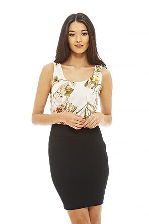 AX Paris Womens Floral Chiffon Bodycon Dress(Cream, ...