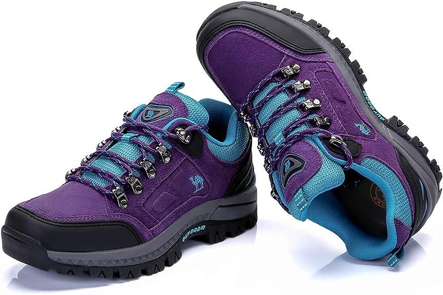 CAMEL CROWN Chaussures de Marche Femmes Chaussures de randonn/ée Chaussures descalade en Daim Chaussures Basses Glissement sur Trekking Chaussures de s/écurit/é pour lext/érieur Runing Camping