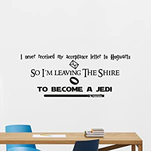 Star Wars Harry Potter Lord Of The Rings Quotes Wall Decal I'm Leaving the Shire To Become A Jedi Vinyl Sticker Cartoons Boy Kids Wall Art Nursery Decor Mural 240crt