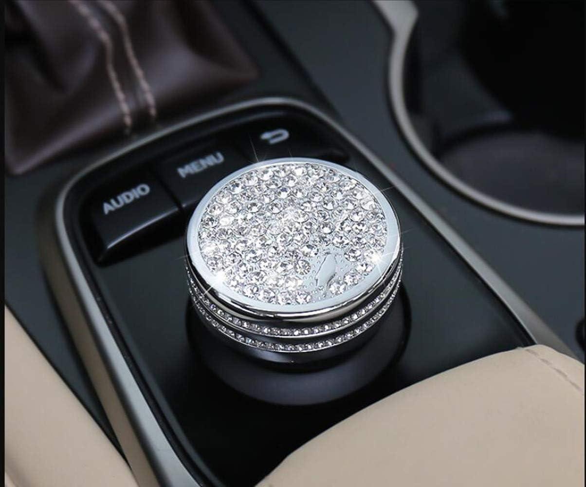 Silver, CT ES is NX RX 2013-2018 NIUHURU Car Interior Trim Bling Accessories Central Control Audio MENU Back Knob Rhinestone Decals Cover fit for Lexus