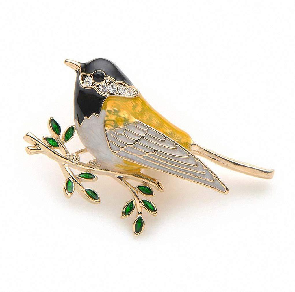 Jana Winkle Rhinestone Enamel Oriole Bird Brooches Bird Branch Brooch Pins Suits Dress Banquet Brooch Yellow