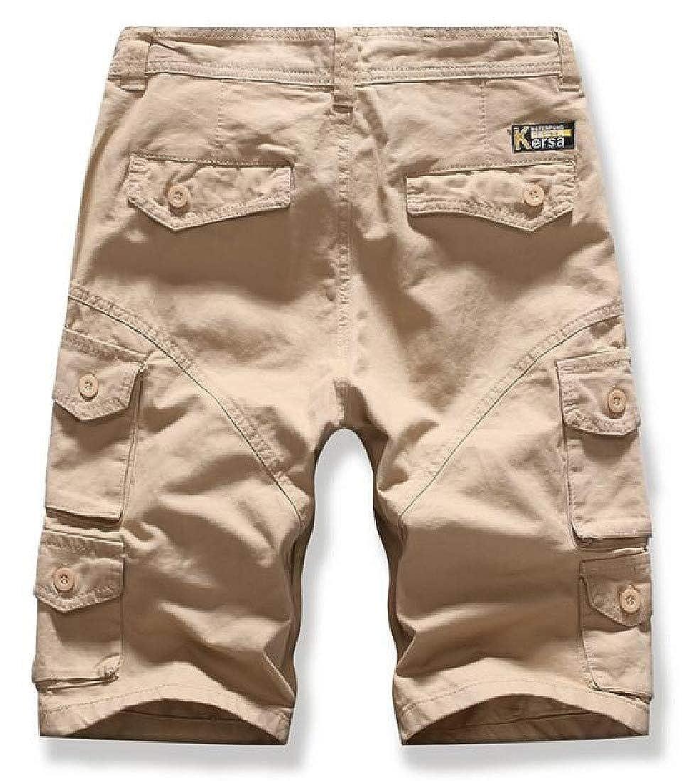 Domple Mens Ripstop Multi Pockets Board Shorts Beach Swim Trunk Solid Color Cargo Shorts