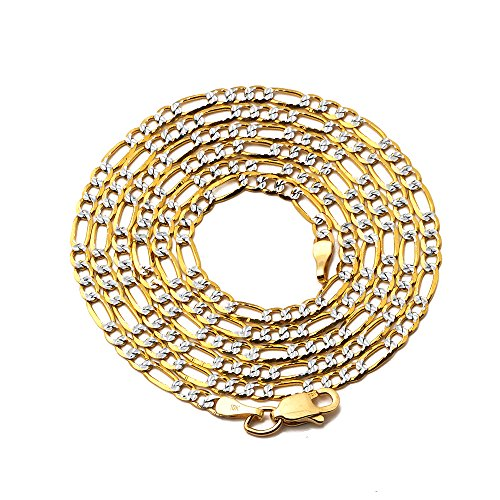 LOVEBLING 10K Yellow Gold 2.5mm Solid Pave Two-Tone Figaro Chain Necklace with Lobster Lock (18) - Gold Pave Figaro Chain