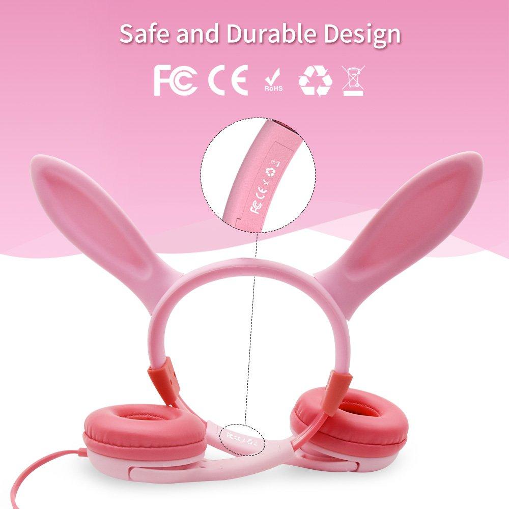 LOBKIN Función de intercambio de música para auriculares para niños, Auriculares con orejas atado con alambre con orejas de conejo, Volumen de 85dB limitado, Silicona para alimentos, Enchufe de 3.5 mm para niños Bebé para niños, Rosado (aur