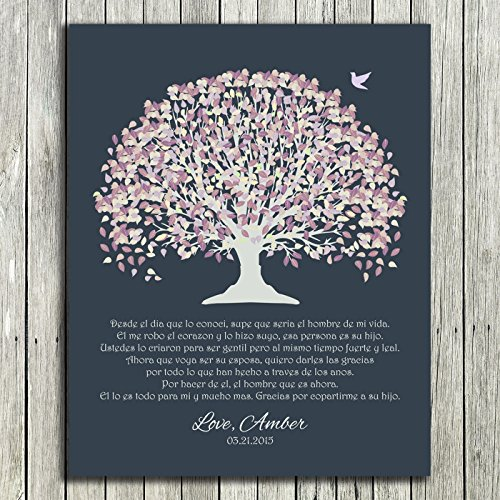 8x10 Unframed Print Personalized Gift For Mother of Groom Father Parents in Spanish Pale Purple Canopy Leaves on Dark Slate Background Custom Wedding Art